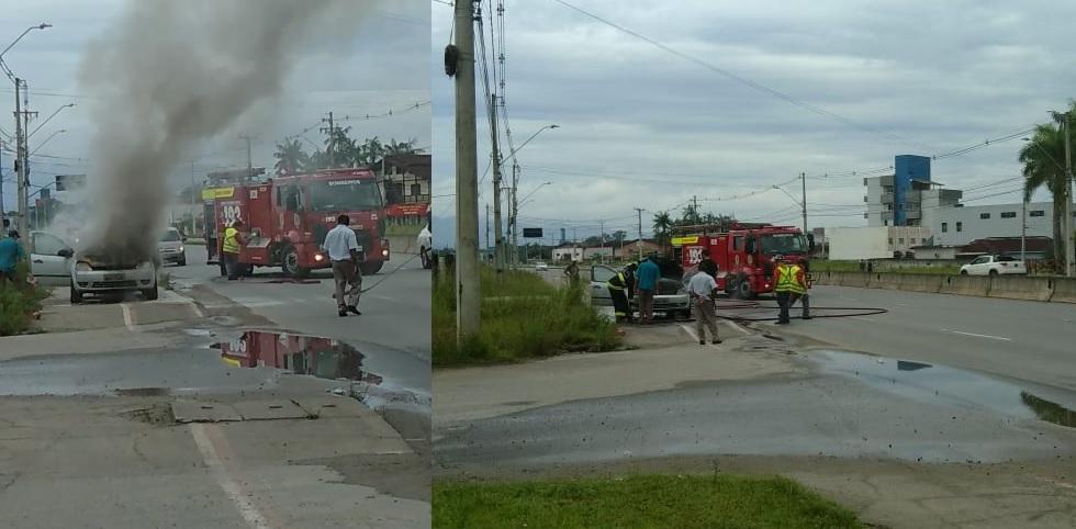 VÍDEO = Carro pega fogo na Avenida Santos Dumont