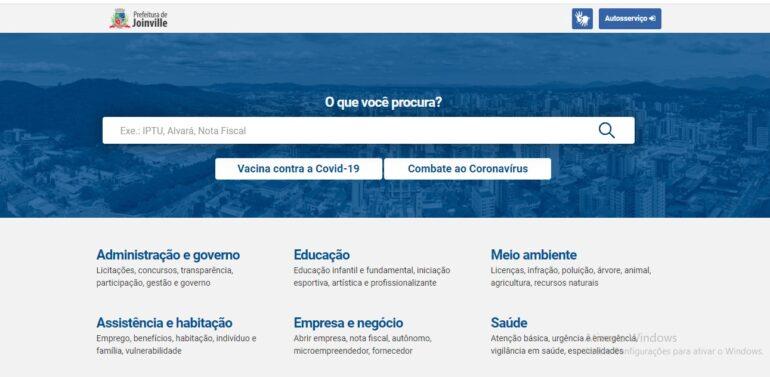 Site da Prefeitura de Joinville recebe melhorias