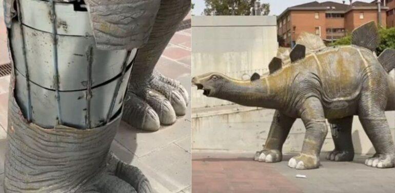 Homem morre após ficar preso dentro de estátua de dinossauro
