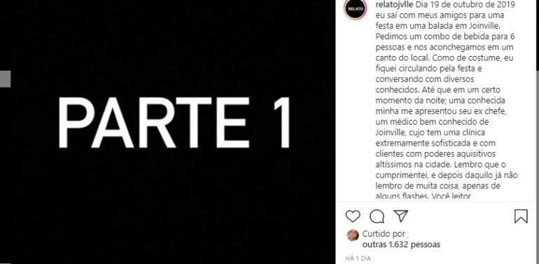 Perfil no Instagram denuncia estupro coletivo em Joinville
