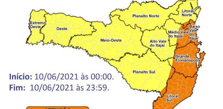 Defesa Civil alerta para mais chuva intensa em SC nesta quinta-feira