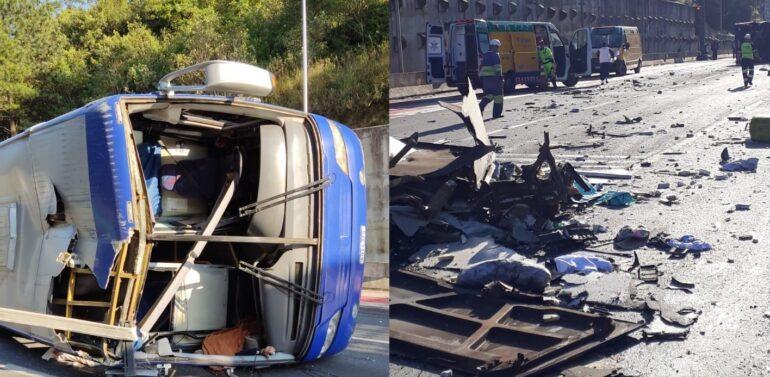 VÍDEO :  Ônibus do Umuarama Futsal tomba em rodovia