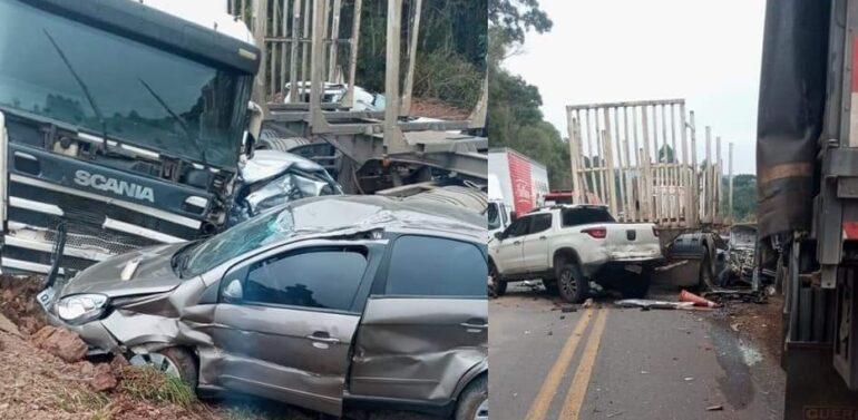 Engavetamento entre 13 veículos deixa quatro feridos na BR-280