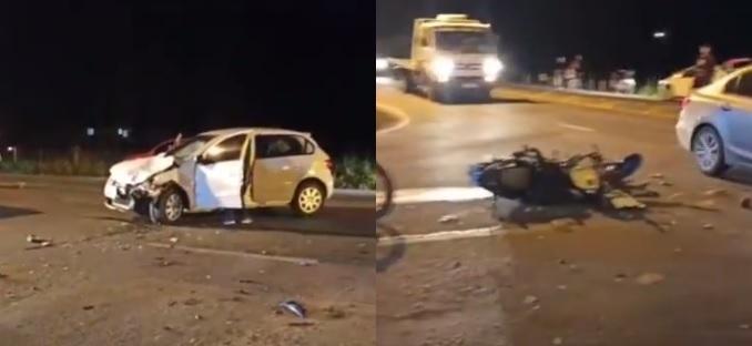 Motociclista fica ferido após ser fechado por carro na Rodovia do Arroz