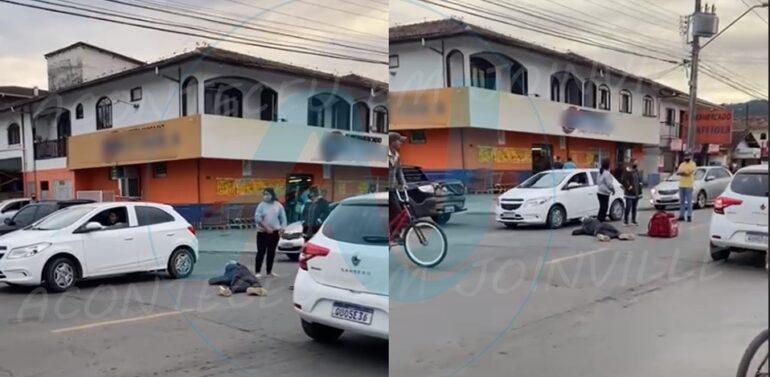 Motociclista sofre fratura após colisão com carro no Iririú