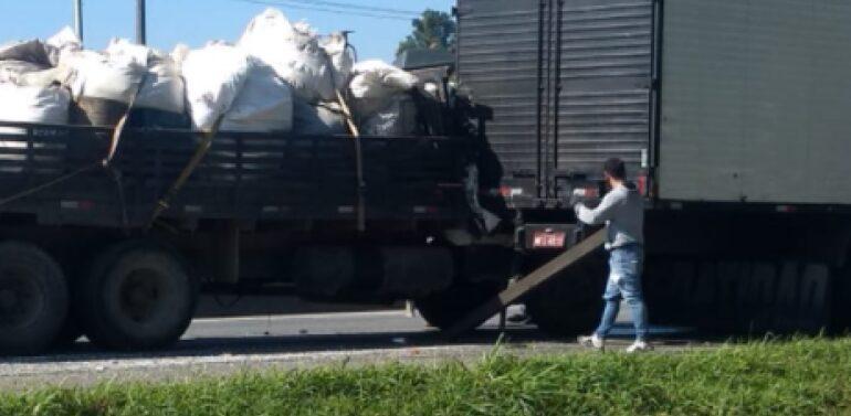 Acidente entre caminhões interdita BR-101 em Joinville