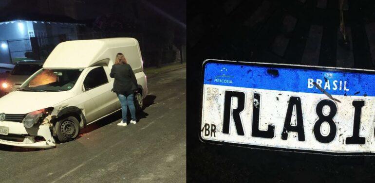 Motorista perde a placa de carro após acidente e foge sem prestar socorro