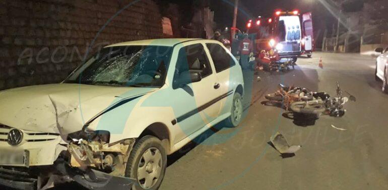 Motociclista fica ferido após acidente na rua Barra Velha