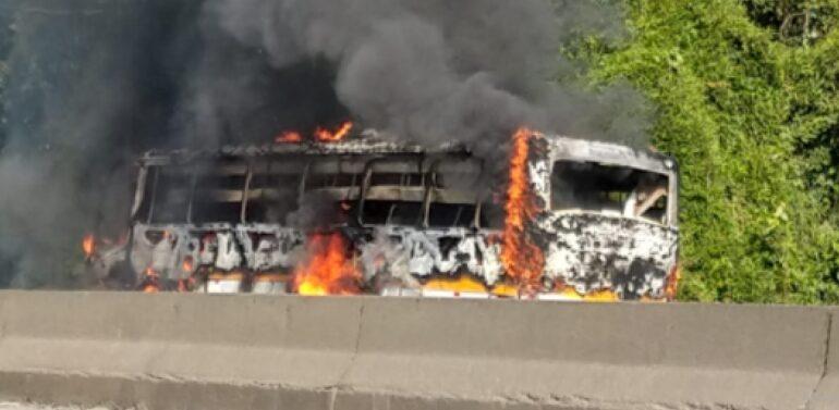 VÍDEO : Ônibus é destruído por incêndio após curto-circuito