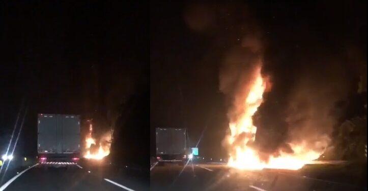 VÍDEO : Caminhão pega fogo e interdita BR-101 em Joinville