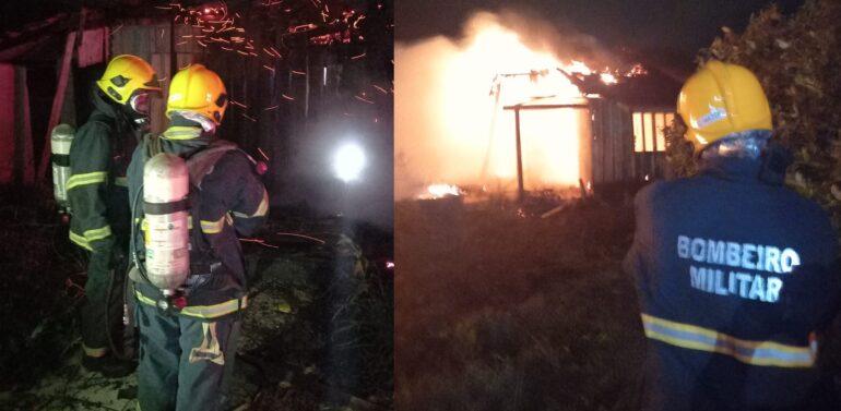 Incêndio consome casa de madeira em Barra Velha