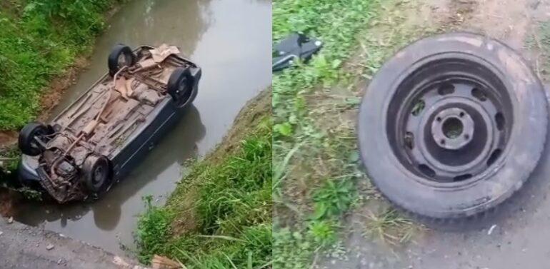 VÍDEO : Carro cai em riacho no Anita Garibaldi