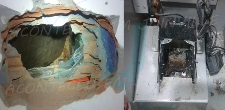 Ladrões fazem buraco na parede de supermercado para arrombar cofre