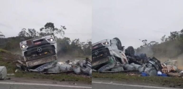 VÍDEO : Caminhão carregando 16 toneladas de produtos químicos tomba na BR-101