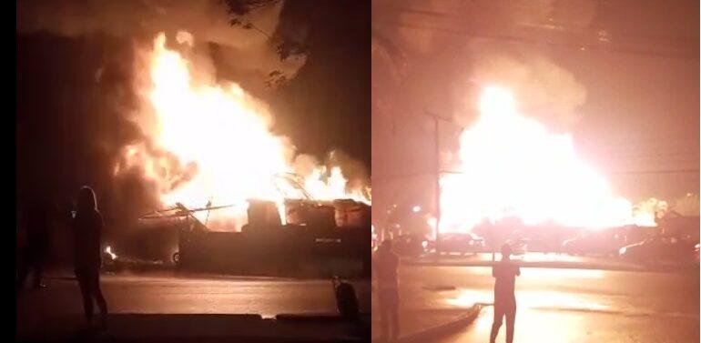 VÍDEO: incêndio destrói borracharia no Petrópolis