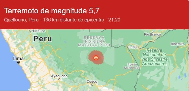Terremoto atinge o Peru e é sentido no Brasil